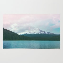Mountain Lake - Nature Photography - Turquoise Teal Pink Rug