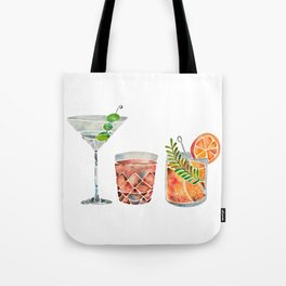 Classic Cocktails  – 1960s Watercolor Lineup Tote Bag