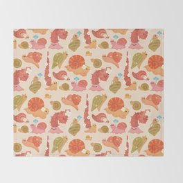 Snail and small flowers Throw Blanket