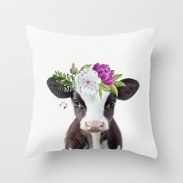 Baby Cow with Flower Crown Throw Pillow