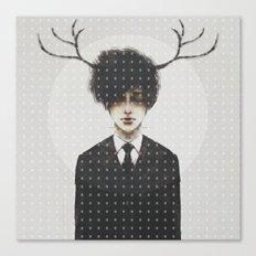 BLACK SUIT ANTLERS Canvas Print