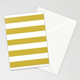Old gold - solid color - white stripes pattern Stationery Cards