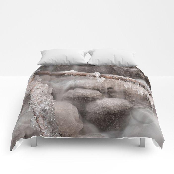 Frozen Winter Waterfall Comforters