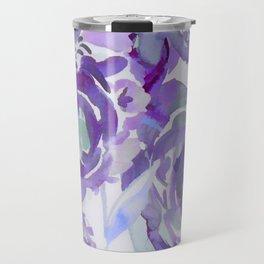 Purple Haze Painterly Floral Abstract Travel Mug