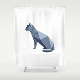 Origami Cat Shower Curtain