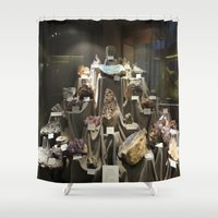 minerals Shower Curtains featuring Don't Touch the Minerals by kindercore