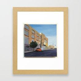 Tree and Orange Van on Flushing, print of original oil painting Framed Art Print