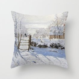 1869-Claude Monet-The Magpie -89 x 130 Throw Pillow