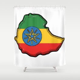 Ethiopia Map with Ethiopian Flag Shower Curtain