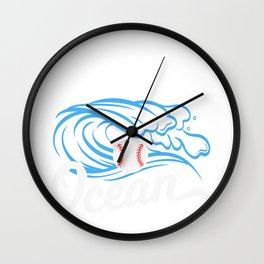 """Baseball Tee For Players Saying """"Go Get It Out Of The Ocean"""" T-shirt Design Bat Home Run Pitcher Wall Clock"""