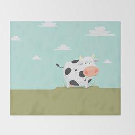 Happy fat cow Throw Blanket