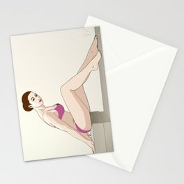 After the gym - pin up girl Stationery Cards