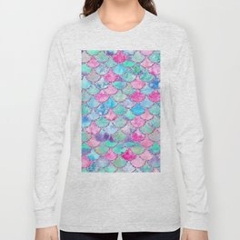 Colorful Pink and Blue Watercolor Trendy Glitter Mermaid Scales Long Sleeve T-shirt