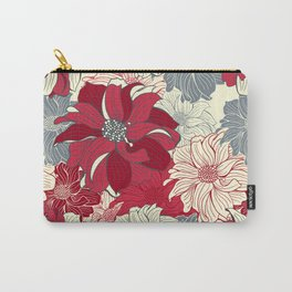 Dahlia pattern in cherry-red and grey Carry-All Pouch