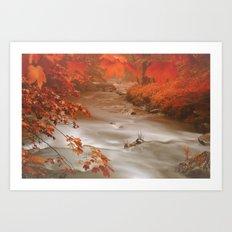 Fog-River Art Print