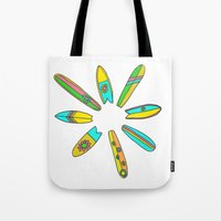 surfboard Tote Bags featuring Retro Surfboard Flower Power by Surfy Birdy