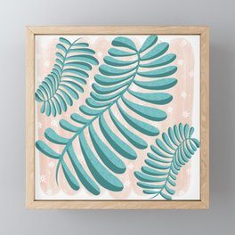 Three Happy Ferns - Green and Pink color palette  Framed Mini Art Print