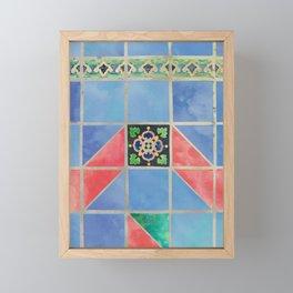 Fredericksburg Texas Vintage Ceramic Tile Pattern - Blue & Red Framed Mini Art Print