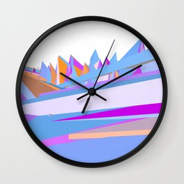 Pastel pink blue orange hand painted geometrical abstract pattern Wall Clock