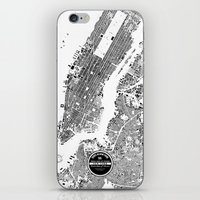 new york map iPhone & iPod Skins featuring New York Map by Maps Factory