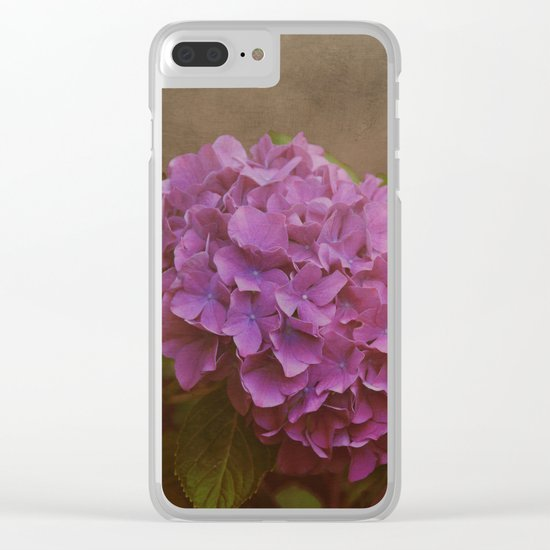 Pink hydrangea with a touch of blue Clear iPhone Case