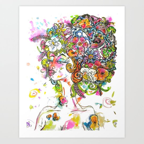 """She Wore Flowers in Her Hair"" Art Print"