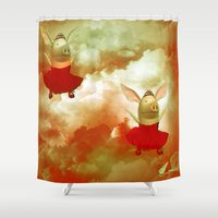 pigs Shower Curtains featuring Flying pigs by Annabellerockz