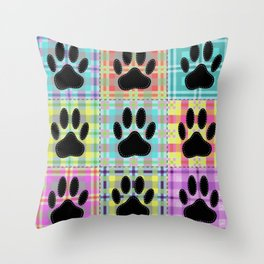 Colorful Quilt Dog Paw Print Drawing Throw Pillow
