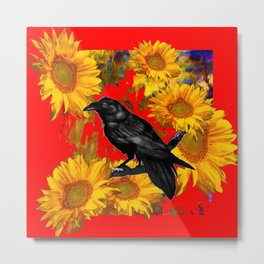 DECORATIVE CROW & SUNFLOWERS  RED GARDEN ART Metal Print