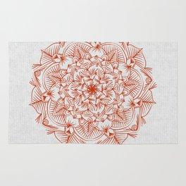 Rust Red Mandala on Japanese Rice Paper Rug