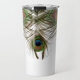 BLUE-GREEN PEACOCK FEATHERS WHITE ART Travel Mug