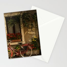 BICYCLE LEANING ON HOUSE Stationery Cards