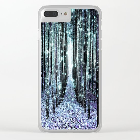 Magical Forest Lavender Aqua/Teal Clear iPhone Case