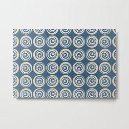 Mid-tone Blue, Beige, Tan and off White Wobbly Circle Dot Geometric Pattern Metal Print