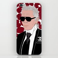 karl lagerfeld iPhone & iPod Skins featuring Karl Lagerfeld by Stephanie Jett