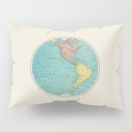Vintage Scientific Illustration Western Hemisphere World Map In Color Pillow Sham