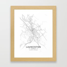 Launceston, Australia - Light Map Framed Art Print