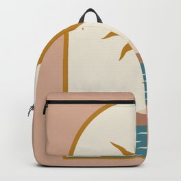 Mid Century Magic Window Frame Golden Sun Over The blue Nile Contemporary Trendy Style Pink Pastel Hues Backpack