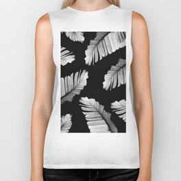 Tropical Gray White Banana Leaves Dream #2 #decor #art #society6 Biker Tank
