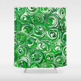 Emerald Green, Green Apple, and White Paint Swirls Shower Curtain