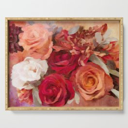Rose Red Floral Serving Tray