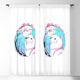 Samoyed Sakura Blackout Curtain