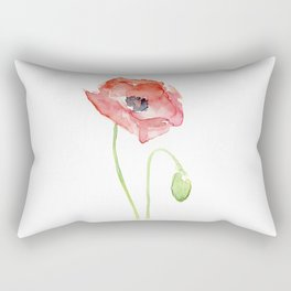 Red Poppy Watercolor Flower Floral Abstract Rectangular Pillow