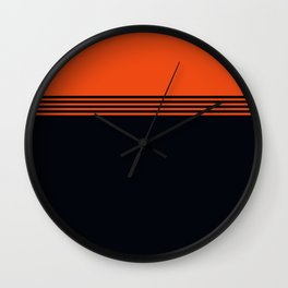 70s Orange Retro Striped Pattern Wall Clock