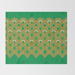 retro sixties inspired fan pattern in green and orange Throw Blanket