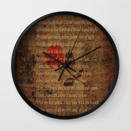 Vintage Poem 4 Wall Clock