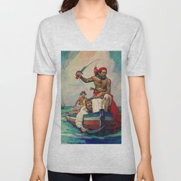 """Pirates""Painting by Frank Earle Schoonover Unisex V-Neck"