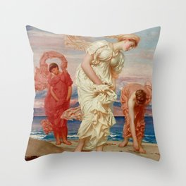 """Frederic Leighton """"Greek Girls Picking up Pebbles by the Sea"""" Throw Pillow"""