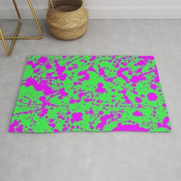 Fuchsia Spray Splatters on Neon Green Surface Rug