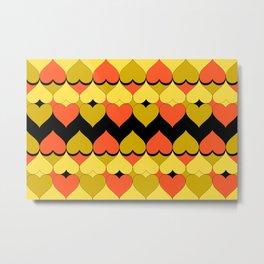 Multi Hearts Chartreuse Tangerine Black Metal Print